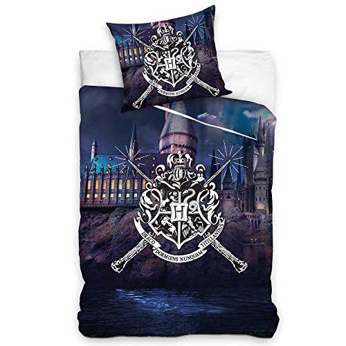 HOGWARTS Official HARRY POTTER Single Duvet Cover & Pillowcase Bed Set School Coat of Arms (100% Cotton & Reversible)