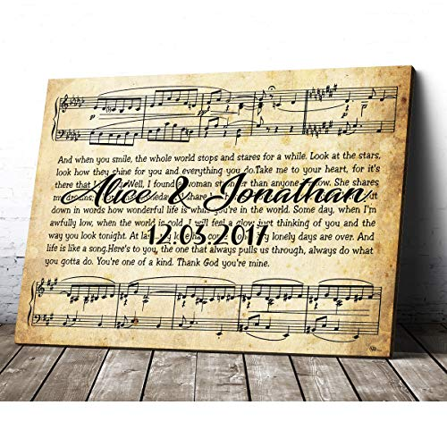 Personalized Custom Name Date First Dance Song Lyrics Canvas Prints Wall Art Hanging Poster Home Decor Birthday Christmas Presents for Engagement Wedding Anniversary Couple Memory