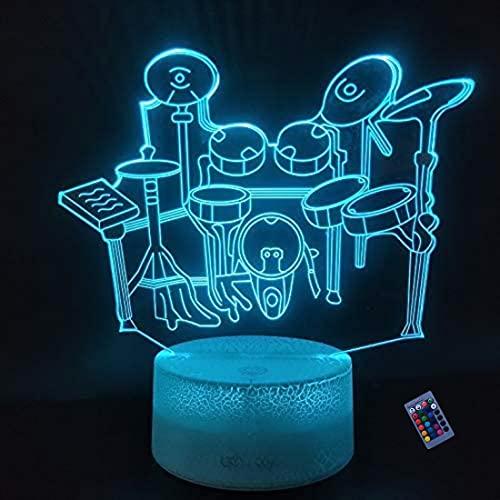 Kreative 3D Schlagzeug Nacht Licht 16 Farben Andern Sich Fernbedienung USB Adapter Touch Schalter Dekor Lampe Optische Täuschung Lampe LED Lampe Tisch Kind Geburtstag Weihnachten Geschenke