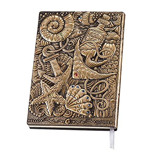 Chytaii - Cuaderno A5 con relieve, diseño retro de piel de bronce con 100 hojas de papel de letras en relieve del mundo marino