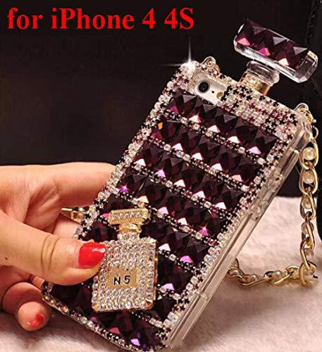 KESHOUJI para iPhone X XS MAX XR 7 8 Plus 6 6S Plus 5 SE Estuche Luxury Rhinestone Gem Perfume Bottles Funda para teléfono con Cadena Funda de Silicona, 3, para iPhone XS MAX