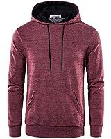 BEILU Men's Long Sleeve Lightweight Fleece Pullover Casual Sweatshirt Active Hoodie(Wine Medium)