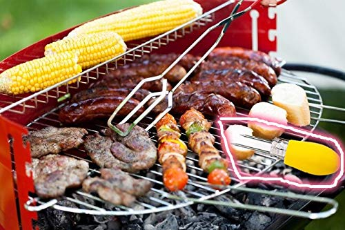 OC TRADE 25# Tainless Steel Corn Barbecue Accessories Grill Tools BBQ Food Skewers Grill Accessories Satay Sticks- Grill Utensils Set- Grilling Utensil Set-Yellow