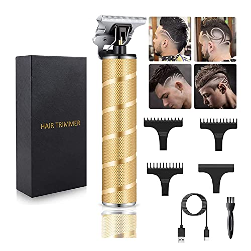 Ufree Ornate Hair Clippers for Men T-Blade Trimmer T Clippers Barber Clippers Hair Trimmer for Men Zero Gapped Trimmers USB Rechargeable Waterproof Pro Li (Gold)