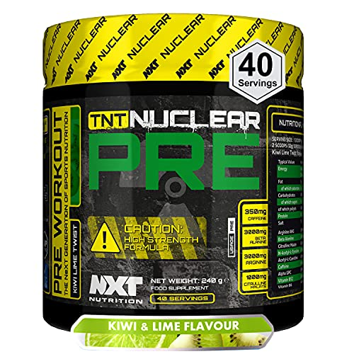 NXT Nutrition, TNT Nuclear PRE, Pre Workout Supplement for Men, Women, Advanced Formula Preworkout Powder, Energy Supplement That Does What it Says on The Tin 240 Grams (Kiwi Lime Twist)
