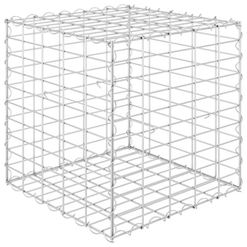 vidaXL Cube Gabion Raised Bed Sturdy Stable Durable Outdoor Patio Pot Garden Raised Bed Cage Stone Basket Retaining Wall Steel Wire 50x50x50cm