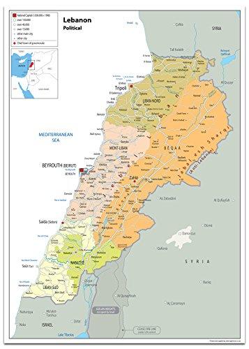 Libanon Politische Karte – Papier laminiert [GA] a2