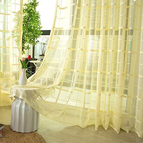 GUOIAN Tüll Vorhänge, Geometrische Moderne Jalousien Vorhänge, Wohnzimmer Schlafzimmer Balkon Erker Fenster Maßwerk 4 Farben Spitze Tüll Vorhänge,Beige,250 * 270cm