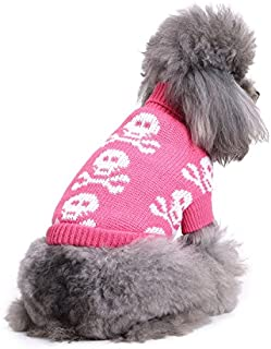 S-Lifeeling Skull Dog Sweater Holiday Halloween Christmas Pet Clothes Soft Comfortable Dog Clothes - Pink