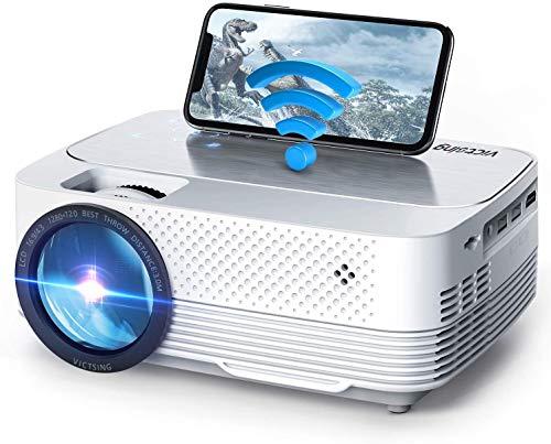 VicTsing Videoproiettore Portatile Mini 5000LUX, Proiettore 1080P Supporta, Mini Proiettore Wireless Home Cinema Portatile iOS/Android/Laptop/TV/PS4
