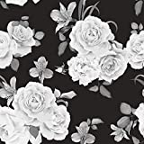 WallsByMe Peel and Stick Black and White Floral Fabric Removable Wallpaper 9335-2ft x 10.5ft (61x320cm)