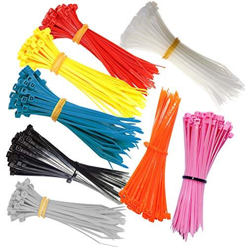 Kabelbinder farbig 100x2,5 mm 8 Farben 880 Stück Set robust UV beständig rot gelb grau rosa orange blau weiß schwarz (großer Set 880 Stück 8 Farben rot gelb grün grau blau rosa orangen schwarz weiß)