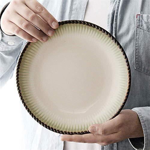 L.BAN Ustensiles de Cuisine/Vaisselle/Vaisselle d'extérieur/Camping Assiette en céramique créative Plat Occidental européen Assiette à collation Simple Assiette de Fruits