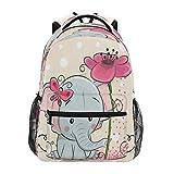 GIGIJY Rucksack mit niedlichem Elefant, rosa Blume, für Schule, Bücher, Reisen, Freizeit, Tagesrucksack für Kinder, Mädchen, Jungen, Herren, Damen