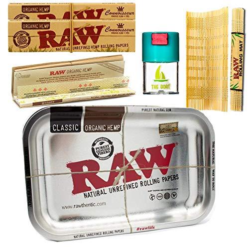 Kit para fumar Raw bandeja para liar metálica 27,5cm x 17,5cm + RAW Organic Kings Size (3 unidades) + Bote antiolor + RAW Liadora de Bambú - Pack dirigido a tabaco de liar