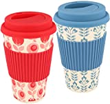 com-four® 2X Taza de café para Llevar - Taza de café para Llevar - café para Llevar - Taza Reutilizable para Beber - Taza de Viaje con Tapa - 350 ml (02 Piezas - Rojo/Azul)