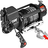 VEVOR Truck Winch 17500Ibs Electric Winch 85ft/26m Synthetic Rope Black 12V 6.6hp Power Winch Jeep Winch with Wireless Remote Control and Powerful Motor for UTV ATV & Jeep Truck Wrangler