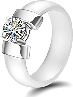 VQYSKO Gold Color Stainless Steel Ceramic Rings with Cubic Zirconia Women Rings