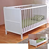 White Solid Wood <span class='highlight'>Baby</span> <span class='highlight'>Cot</span> <span class='highlight'>Bed</span> & Deluxe Foam Mattress Converts into a Junior <span class='highlight'>Bed</span> ✔ 3 Position ✔ water repellent mattress liner