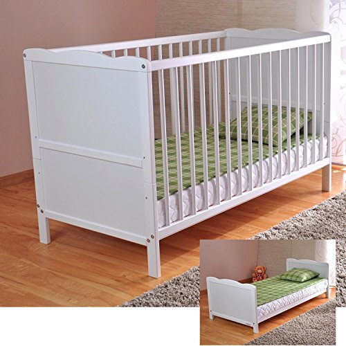 White Solid Wood Baby Cot Bed & Deluxe Foam Mattress...