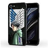 Fashion888 Attack-On-Titan-Levi Compatible para iPhone 11 12 Pro MAX XR XS MAX 6/7/8 Plus SE 2020 Funda para teléfono Negra Funda para teléfono móvil