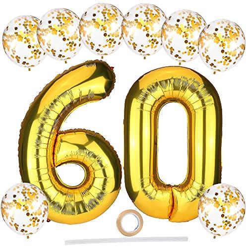 Luftballons Geburtstagsdeko Gold,40 Zoll XXL Riesen Folienballon Zahlen Luftballon 60 mit Gold Konfetti Luftballons/Band,Gold Folienballons Ballons Set für Männer Frauen 60. Jubiläum Geburtstag Deko