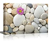 wall26 - Canvas Prints Wall Art - Zen Pebble Stones with Pink Carnation   Modern Wall Decor/Home Decoration Stretched Gallery Canvas Wrap Giclee Print. Ready to Hang - 16' x 24'