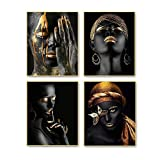 """Modern Art African American Wall Art Painting Black Woman Fashion Pop Gold Earrings Set of 4 (8""""X10""""Canvas Picture),Girl Room Poster Art Painting Bedroom or Bathroom for Home Decor No Frame"""