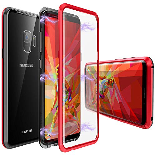 Galaxy S9 Case,Magnetic Adsorption Case Front and Back Tempered Glass Full Screen Coverage One-Piece Design Flip Cover [Support Wireless Charging] for Samsung Galaxy S9 (Red)