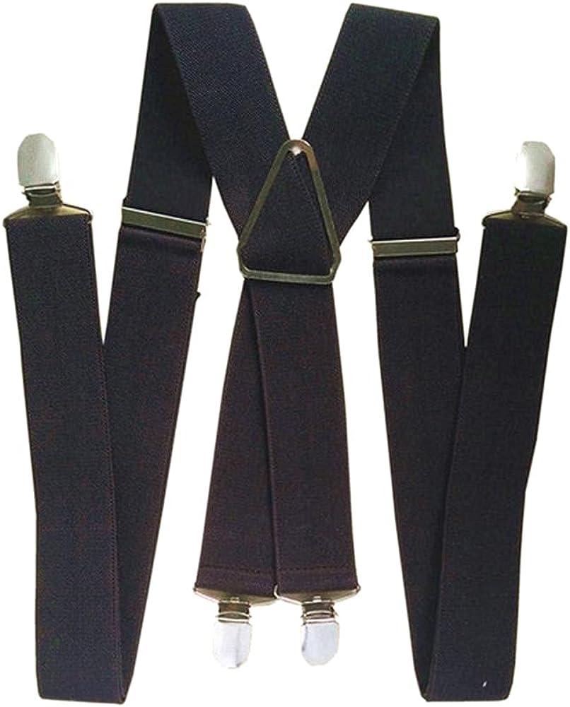 4 Clips Man Suspenders 47 55 Inch Adjustable Elastic Strap Coffee Brown Color X Back Pants Braces Suspender Women