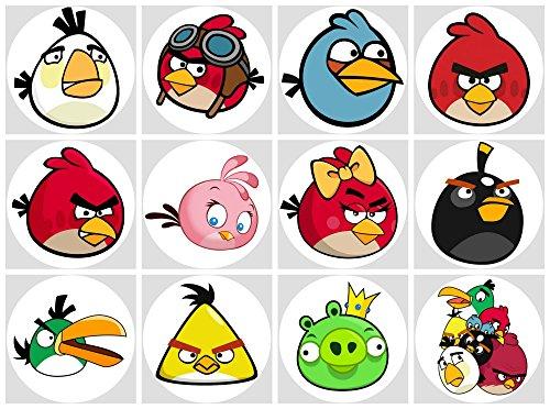 12 Stück Muffinaufleger Muffinfoto Aufleger Foto Bild Angry Birds (30) rund ca. 6 cm *NEU*OVP*