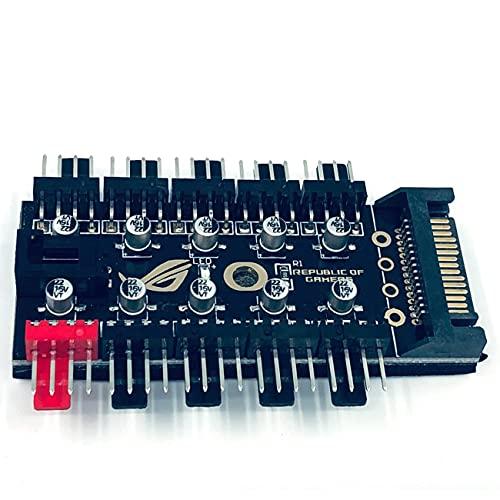 Ashley GAO Control de temperatura inteligente Pwm 4pin Fan Hub 10 vías controlador grande 4p puerto Sata fuente de alimentación grande 4p fuente de alimentación