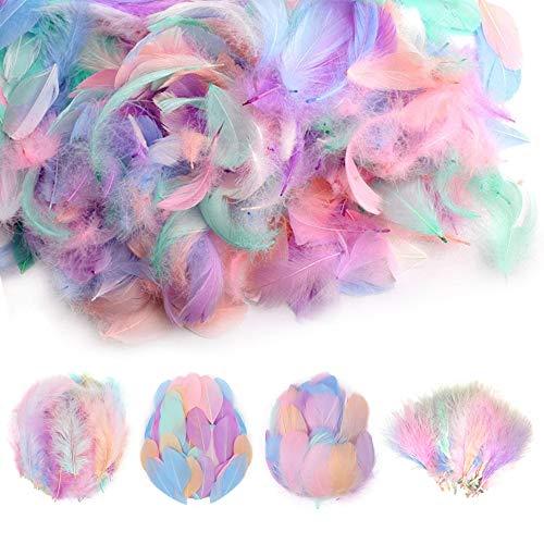 Nsiwem Plumas de Colores 400 piezas plumas manualidades Artesanía Natural Plumas de Ganso Plumas pascua para DIY manualidades Decoraciones para Fiestas