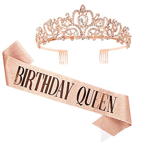 Araluky Gold Rose Baroque Rhinestone Tiara and Crown for women ,HAPPY Birthday Queen Sash Quinceanera Party Supplies Birthday Gifts for Girl Women with Fun Party with Rose Gold Tiara Pink Lettering