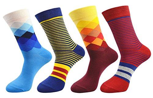 FULIER Hombres Paquete de 4 Algodón Rico Inteligente Diseño Vistoso Cómodo Vestido Becerro Calcetines UK 6-13 EUR 39-47 (Color 3)