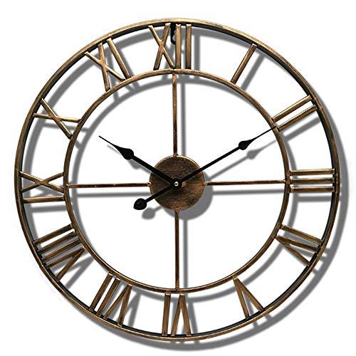 YL Uhr europäischen Schmiedeeisen Wanduhr 47cm Durchmesser Wohnzimmer Schlafzimmer Hause Wanduhr Metall Zifferblatt Spiegel Sweeping Bewegung 1 AA Batterie (Nicht im Lieferumfang enthalten) Precision