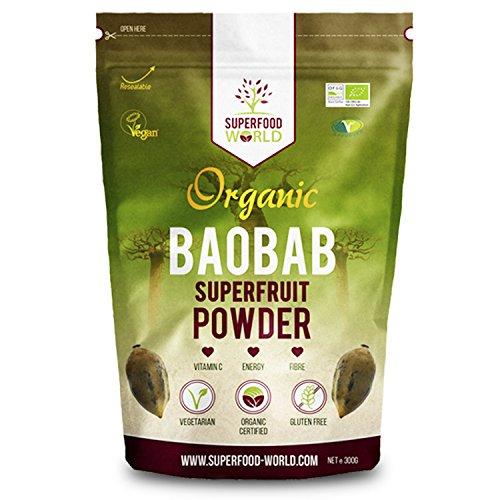 Organic Baobab Powder | Raw Organic Baobab Superfruit Powder | Rich in Vitamin C, Fibre & Antioxidants | Supports Healthy Skin, Digestion & Blood Sugar | Ideal for Smoothies & Juices 300g