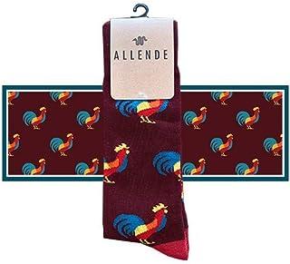 Allende   Par de Calcetines de diseño 'Gallo' artesanal, unisex maquilado en Puebla