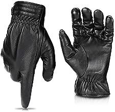 Winter Sheepskin Leather Driving Gloves for Men Women All Fingers Touchscreen Texting Riding Winter Dress Black Gloves Short Wrist