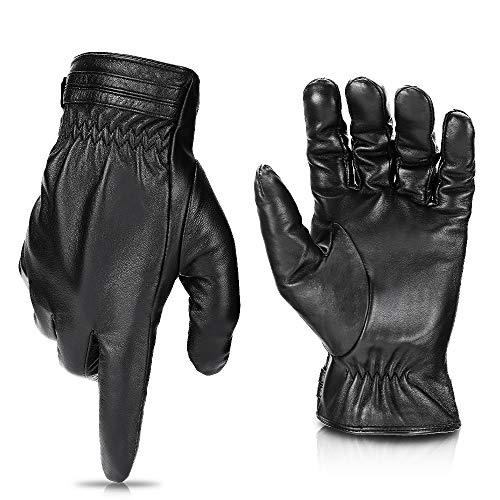 Sheepskin Leather Driving Gloves for Men Women All Fingers Touchscreen Texting Riding Winter Dress Black Gloves Short Wrist