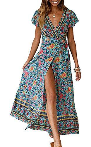 ZESICA Women s Bohemian Floral Printed Wrap V Neck Short Sleeve Split Beach Party Maxi Dress Green