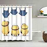 ViviJane Funny Yellow Minions White Shower Curtain with 12 Hooks Waterproof Washable Polyester Fabric Three Yellow Naked Cartoon Figure Bananas Bathroom Set Decor Washable 72 x 72 inches, White