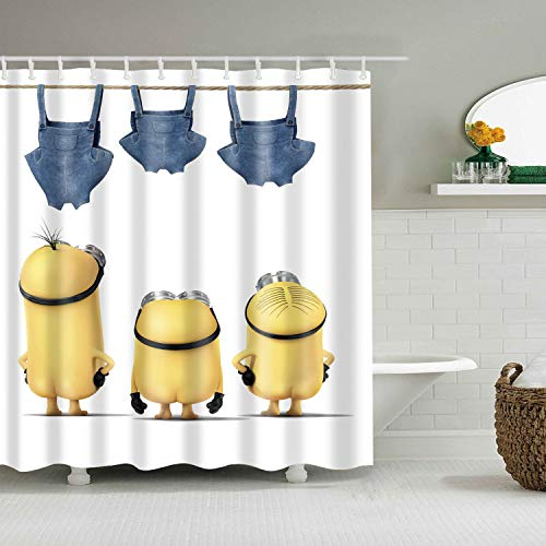 Funny Yellow Minions White Shower Curtain with 12 Hooks Waterproof