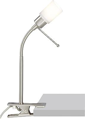 Brilliant G92892/13 - Flexo de pinza con luz LED, color plateado y blanco