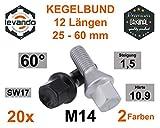 Levando 20 Stück Radschrauben M14x1,5 30mm Schaftlänge Kegel 60°SW17 – Radbolzen-Set mit 20x Radschraube in OE Qualität, für Alufelgen & Reifenwechsel, Farbe Silber
