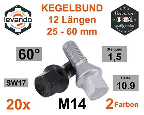 Levando 20 Stück Radschrauben M14x1,5 30mm Schaftlänge Kegel 60°SW17 – Radbolzen-Set mit 20x Radschraube in OE Qualität, für Alufelgen & Reifenwechsel, Farbe Schwarz