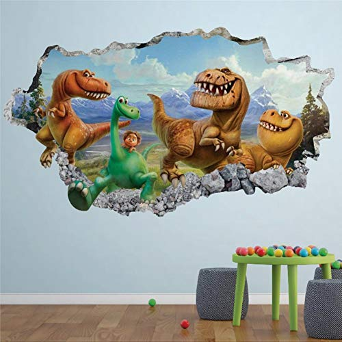 Good Dinosaur Movie Animal Wall Stickers,3D Smashed Peel and Stick Art Wall Decal Home Decor Murals for Bedroom Living Room Nursery Indoor.