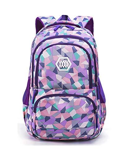 Bansusu Geometric Prints Primary School Student Satchel Backpack for Girls Boys Preppy Schoolbag