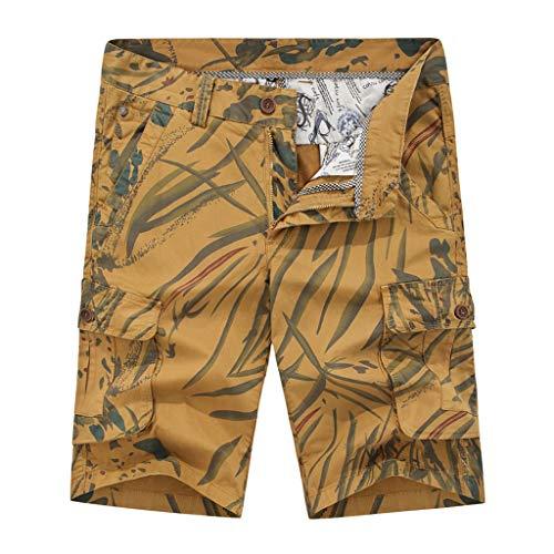 Xmiral Shorts Herren Reißverschluss Overall Streifen Kurze Hose Mit Taschen Sports Hose Training Shorts Fitness Beachshorts(X Khaki,M)