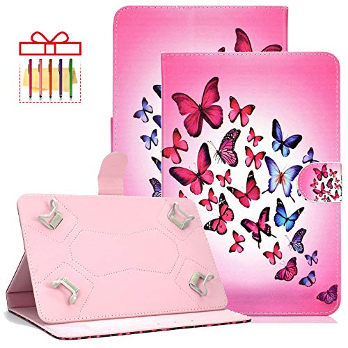 Popbag Universal Case for Amazon Kindle Fire HD 8 2016 2017 2018, Lenovo Tab 4 8', ASUS MeMO Pad 8, Slim Fit Protective Folio Stand Wallet with Card Holder Pocket for All 7.5-8.5' Tablet, B-Butterfly